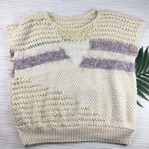 Vtg Crochet Vest Sweater Gold Purple Handmade